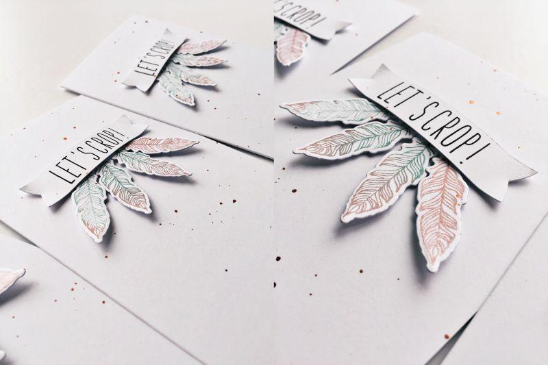 copperandgold.de   ines   scrapbooking card . feathers . copper