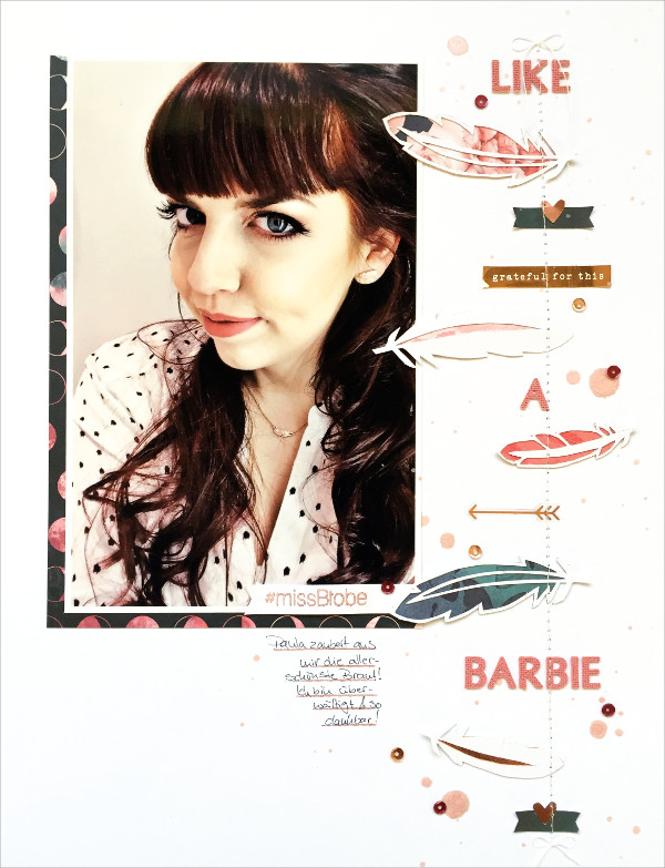 copperandgold.de | ines | scrapbooking layout . like a barbie